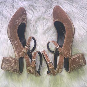 REBECCA MINKOFF Brooke velvet chunky heel pump